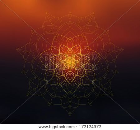 Shiny floral mandala on blurred background. Blur sunset colors. Sacred geometry. Ethnic ornament. Indian traditional decorative element. For yoga studio or meditation classes, flyer, card, invitation. Vector EPS10 illustration.