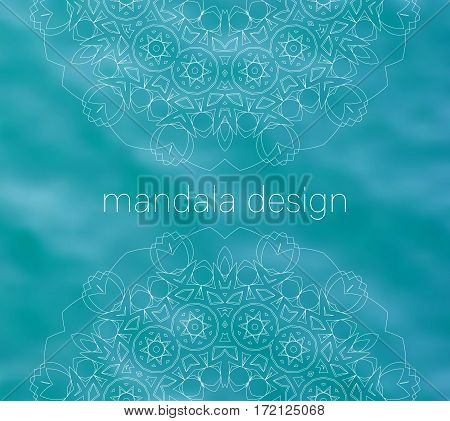 Blue water tribal background with white mandalas. Ethnic ornament. Mandala design text. Boho decorative elements. Good for yoga studio or meditation classes, invitations. Vector EPS10 illustration.