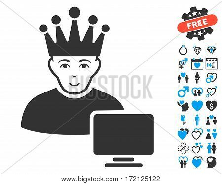 Computer Moderator pictograph with bonus marriage images. Vector illustration style is flat iconic blue and gray symbols on white background.