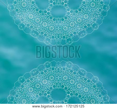 Blue water tribal background with white mandalas. Ethnic ornament. Relaxation. Boho decorative elements. Good for yoga studio or meditation classes, flyer, card, invitation. Vector EPS10 illustration.