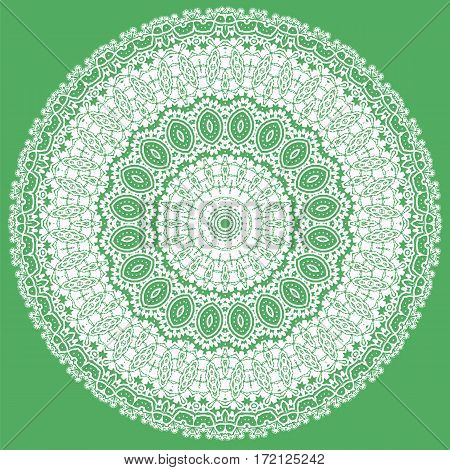 White Ornamental Line Pattern. Oriental Geometric Ornament