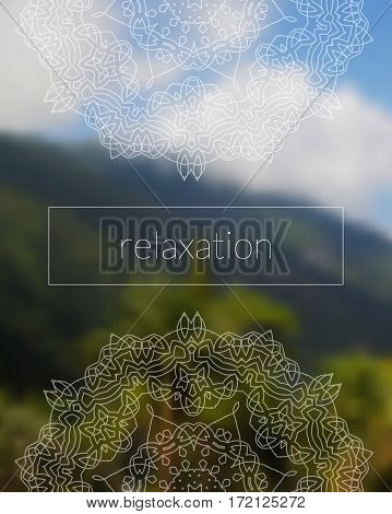 Sacred geometry mandala on realistic tropic background. Boho decorative ornament. Relaxation. Good for yoga studio or meditation classes, flyer, card, invitation. Vector EPS10 illustration.
