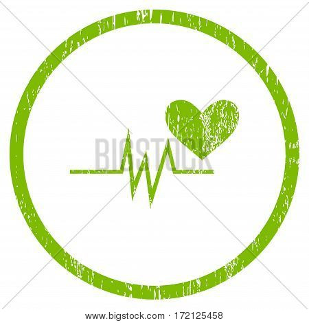 Heart Pulse Signal grainy textured icon for overlay watermark stamps. Rounded flat vector symbol with scratched texture.