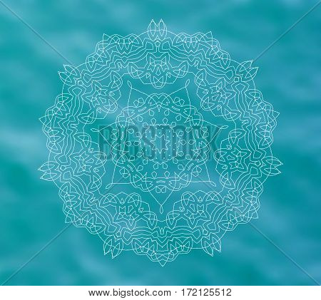 Blue water tribal background with white mandala. Ethnic ornament. Relaxation. Boho decorative elements. Good for yoga studio or meditation classes, flyer, card, invitation. Vector EPS10 illustration.