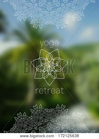 Tropical yoga retreat banner. Sacred geometry mandala on realistic tropic background. Sunny jungle. Good for yoga studio, tantra or meditation resort, flyer, card, invitation. Vector EPS10 illustration.