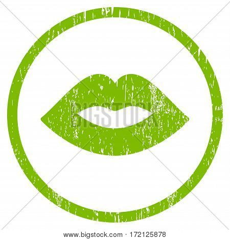 Lips grainy textured icon for overlay watermark stamps. Rounded flat vector symbol with unclean texture. Circled light green ink rubber seal stamp with grunge design on a white background.