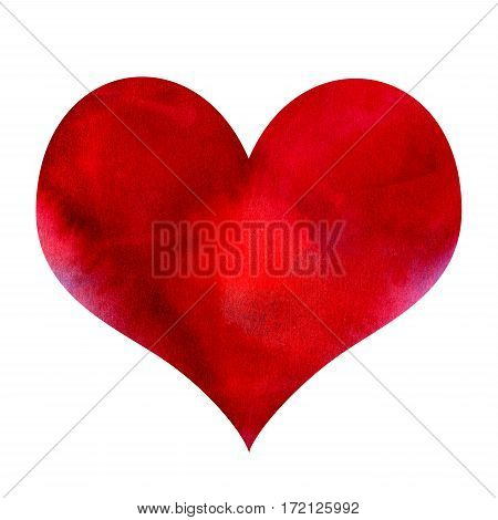 Abstract red watercolor heart isolated on white background