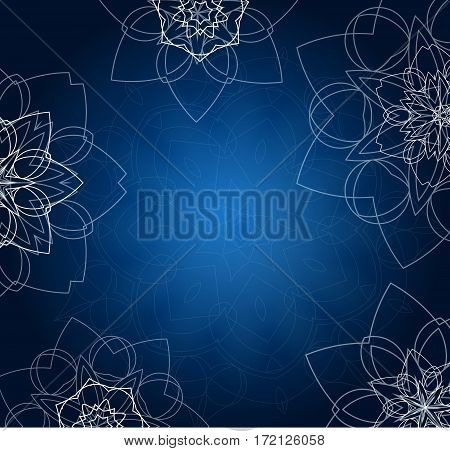 Abstract blue tribal background with floral mandalas. Ethnic ornament. Traditional decorative elements. Good for yoga studio or meditation classes, flyer, card, invitation. Vector EPS10 illustration.