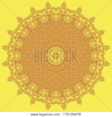 Orange Ornamental Line Pattern. Decorative Texture. Oriental Geometric Ornament