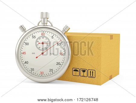 Stopwatch with Cardboard Box on White Background. 3D Rendering