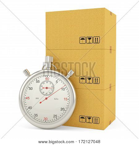 Express Delivery Concept. Cardboard Boxes with Stopwatch, isolated on white background. 3d illustration