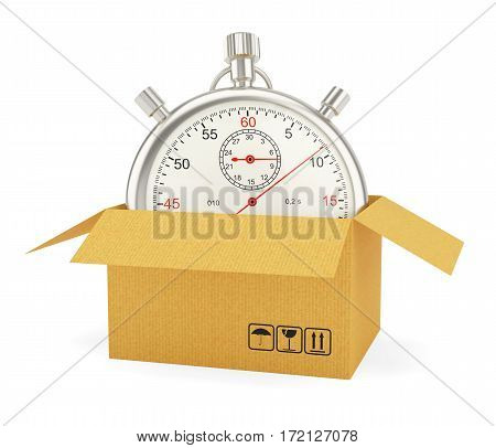 Open Cardboard Box with Stopwatch on White Background. 3D Rendering