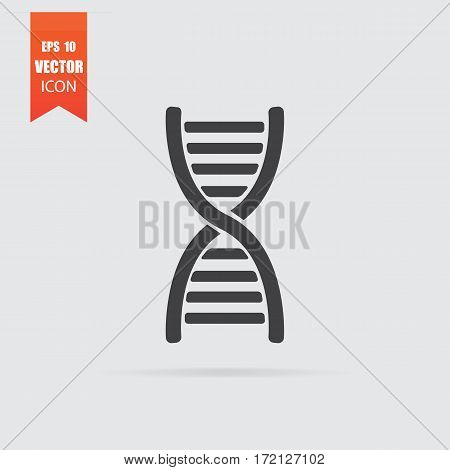 Dna Icon In Flat Style Isolated On Grey Background.