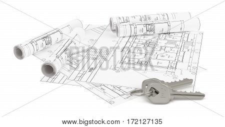 Construction plan for house building and keys. Real Estate Concept. 3d rendering