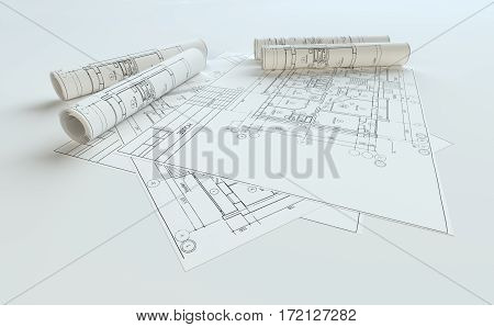 Rolled House Blueprints On Gray Background. 3D Illustration