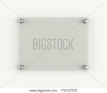 Glass plate mockup on white background. 3D Illustration. Template for your design