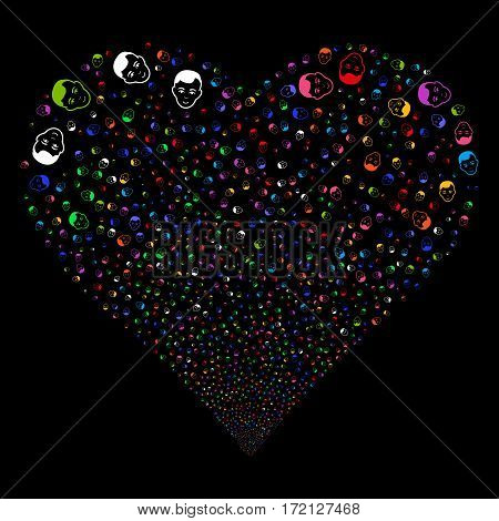 Man Head fireworks with heart shape. Vector illustration style is flat bright multicolored iconic symbols on a black background. Object love heart combined from scattered pictographs.