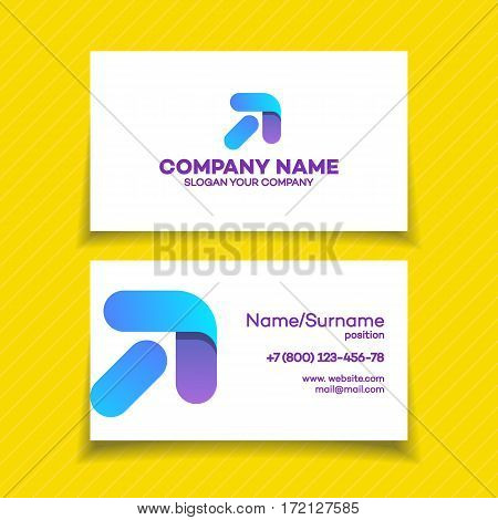 Business card with progress logo and arrow up for growing success business company on white background. Modern glossy growth graph symbol. Vector Illustration