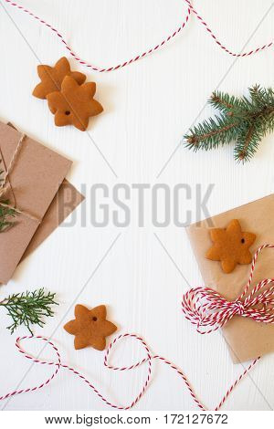 Christmas Composition. Xmas Cookies, Gingerbread Man, Ribbon, Card, Festive Decoration, Fir Branches