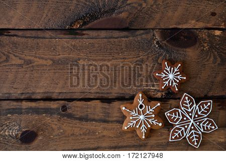 Christmas Composition. Xmas Cookies On Old Wooden Background. Close Up, Top View, Flat Lay With Copy