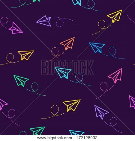 Paper plane seamless pattern colorful line style on dark purple background. Decoration element use for web site, textile and other. Vector Illustration