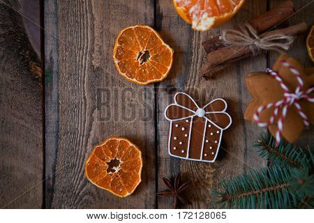 Christmas Composition. Xmas Cookies,  Tangerines, Cinnamon, Festive Decoration, Fir Branches On Old