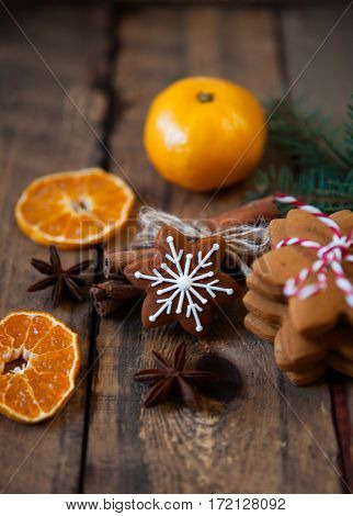 Christmas Composition. Xmas Cookies, Tangerines, Cinnamon, Festive Decoration, Fir Branches On Old W