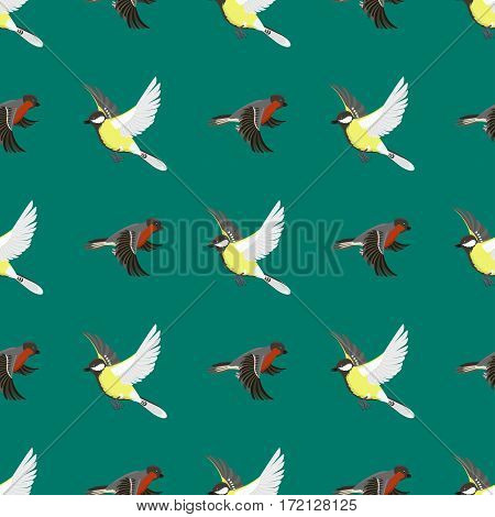 Different flying birds vector illustration. Cartoon cute fauna feather flight animal silhouette. Spring freedom natural concept. Wildlife drawing seamless pattern pet.