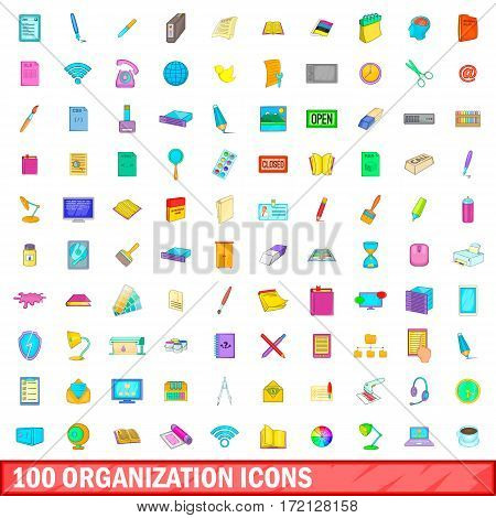 100 organisation icons set in cartoon style for any design vector illustration