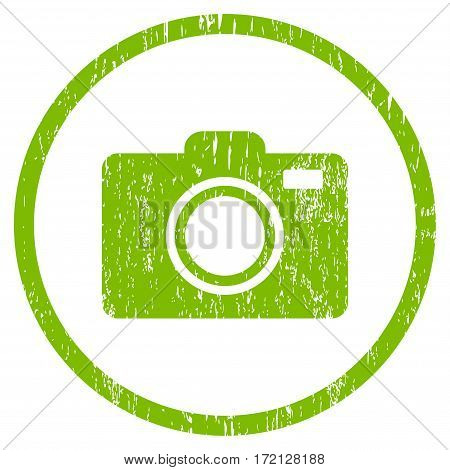 Photo Camera grainy textured icon for overlay watermark stamps. Rounded flat vector symbol with dust texture. Circled light green ink rubber seal stamp with grunge design on a white background.