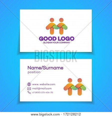 Business card with support community logo consisting as two people for use teamwork, social logo, partnership, communication and family logo