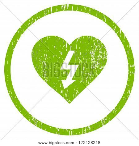 Power Love Heart grainy textured icon for overlay watermark stamps. Rounded flat vector symbol with unclean texture. Circled light green ink rubber seal stamp with grunge design on a white background.