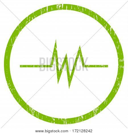 Pulse Signal grainy textured icon for overlay watermark stamps. Rounded flat vector symbol with unclean texture. Circled light green ink rubber seal stamp with grunge design on a white background.