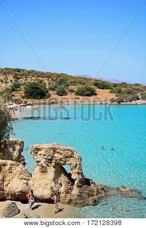 ISTRO, CRETE - SEPTEMBER 18, 2016 - Tourists relaxing on the beach Istro Crete Greece Europe, September 18, 2016.