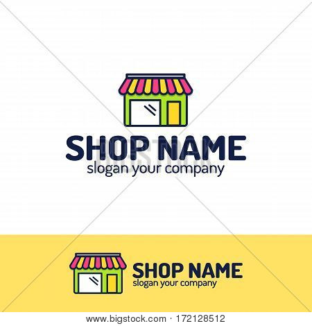 Shop logo set consisting of shopping store color style for your fashion store, on line shop etc. Vector Illustration