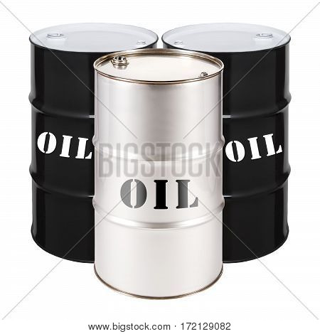 Black And Stainless Steel Oil Barrels Isolated On White Background. Black Gold