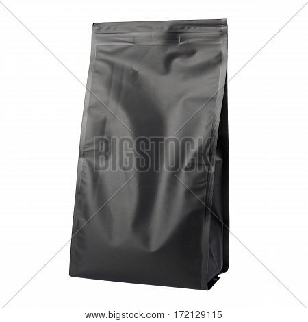 Black Blank Side Gusset Foil Coffee Bags With Degassing Valve Isolated on White Background. Packaging template mockup collection. Aluminium coffee package. Clipping Path
