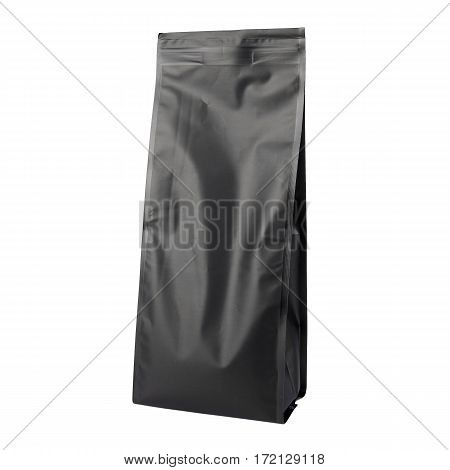 Black Blank Side Gusset Foil Coffee Bags With Degassing Valve Isolated on White Background. Aluminium coffee package. Packaging template mockup collection. Clipping Path