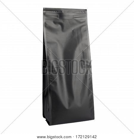 Black Kraft Paper Bag. Blank Side Gusset Foil Coffee Bag With Degassing Valve Isolated on White Background. Packaging template mockup collection. Clipping Path. Aluminium coffee package. PBi Block Bottom Pouch