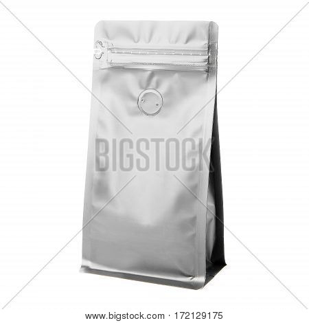 Blank Side Gusset Aluminium Foil Coffee Bags With Degassing Valve Isolated on White Background. Packaging template mockup collection. Clipping Path. Package