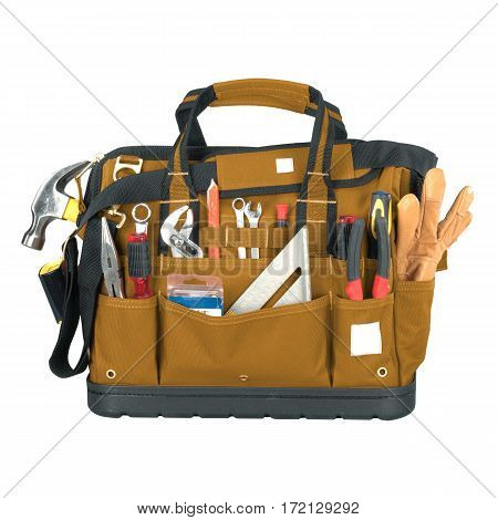 Brown Tool Bag With Molded Base Isolated On White Background. Tool Kit. Tool Box. Clipping Path