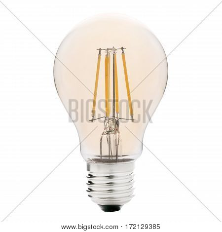 Filament Led Bulb With Yellow Glow Isolated On White Background. Led Lightbulb. Led Light. Clipping
