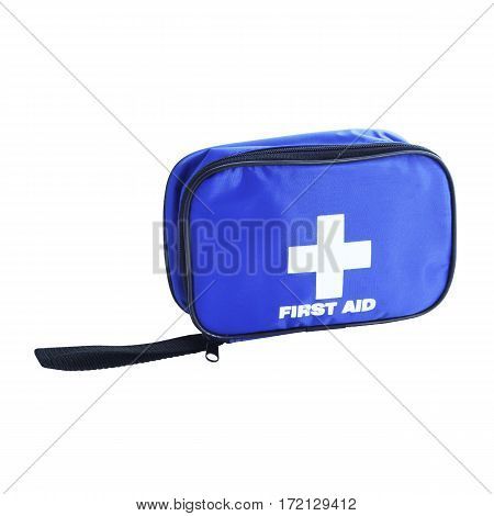 First Aid Blue Bag Isolated On White Background. Medical Kit. Clipping Path
