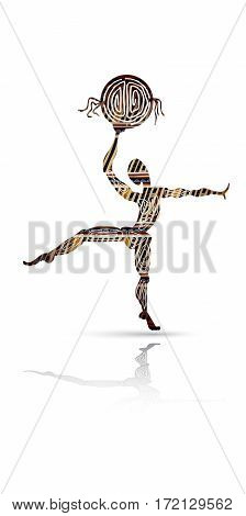 Silhouette of dancing men with a tambourine in ethnic style