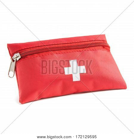 First Aid Red Bag Isolated On White Background. Medical Kit