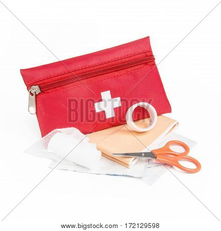 First Aid Red Bag Isolated On White Background. Medical Kit. Clipping Path