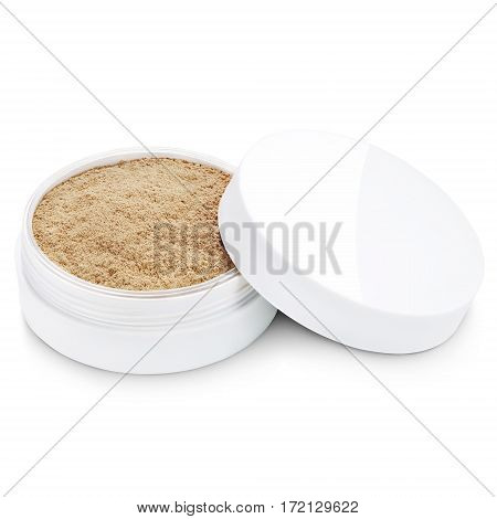 Foundation Powder Makeup In Round Container Isolated On White Background. Shade Mineral