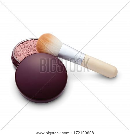 Foundation Powder Makeup In Round Container With Powder Brush Isolated On White Background. Shade Mi