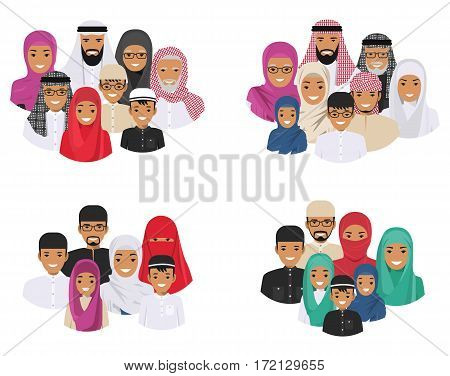All age group of arab man family. Generations man. AArab people father, mother, grandmother, grandfather, son and daughter in traditional islamic clothes. Social concept. Family concept. Vector illustration.