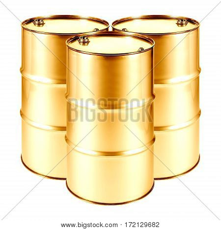 Golden Oil Barrels Isolated on White Background. Black Gold